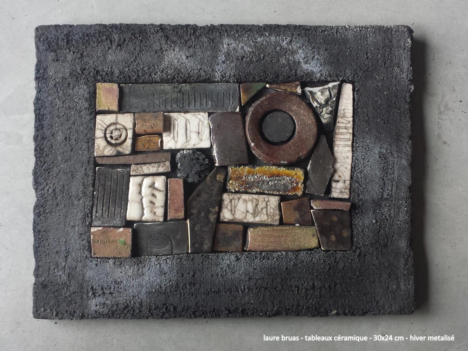 tableau céramique type patchwork mosaique mordoré