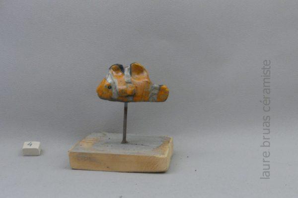 clown fish nemo raku ceramic on wooden pick and base