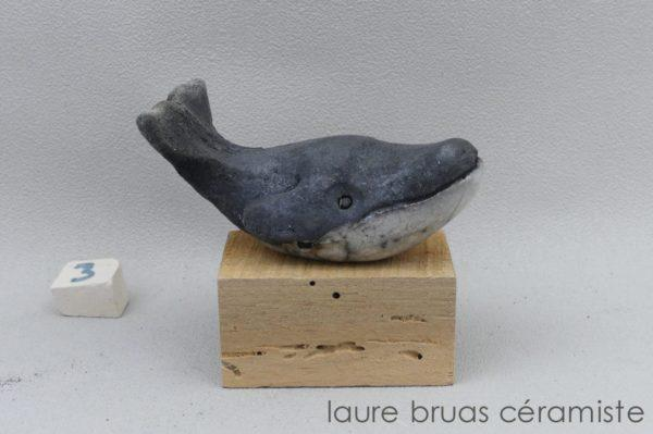 mini baleine à bosse en ceramique raku
