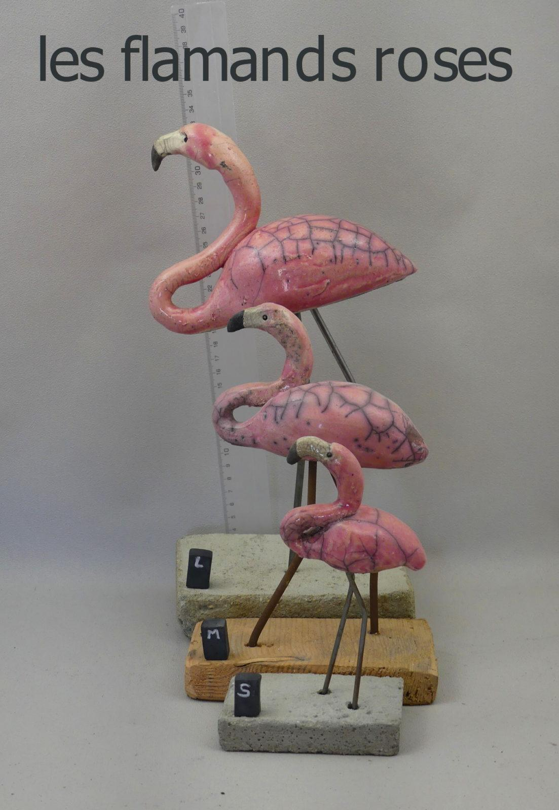 les flamant rose 3 tailles raku
