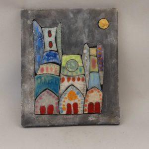 Tableau ceramique cathédrale colorisée