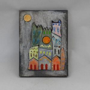 Tableau céramique cathédrale colorisée 17x23 cm