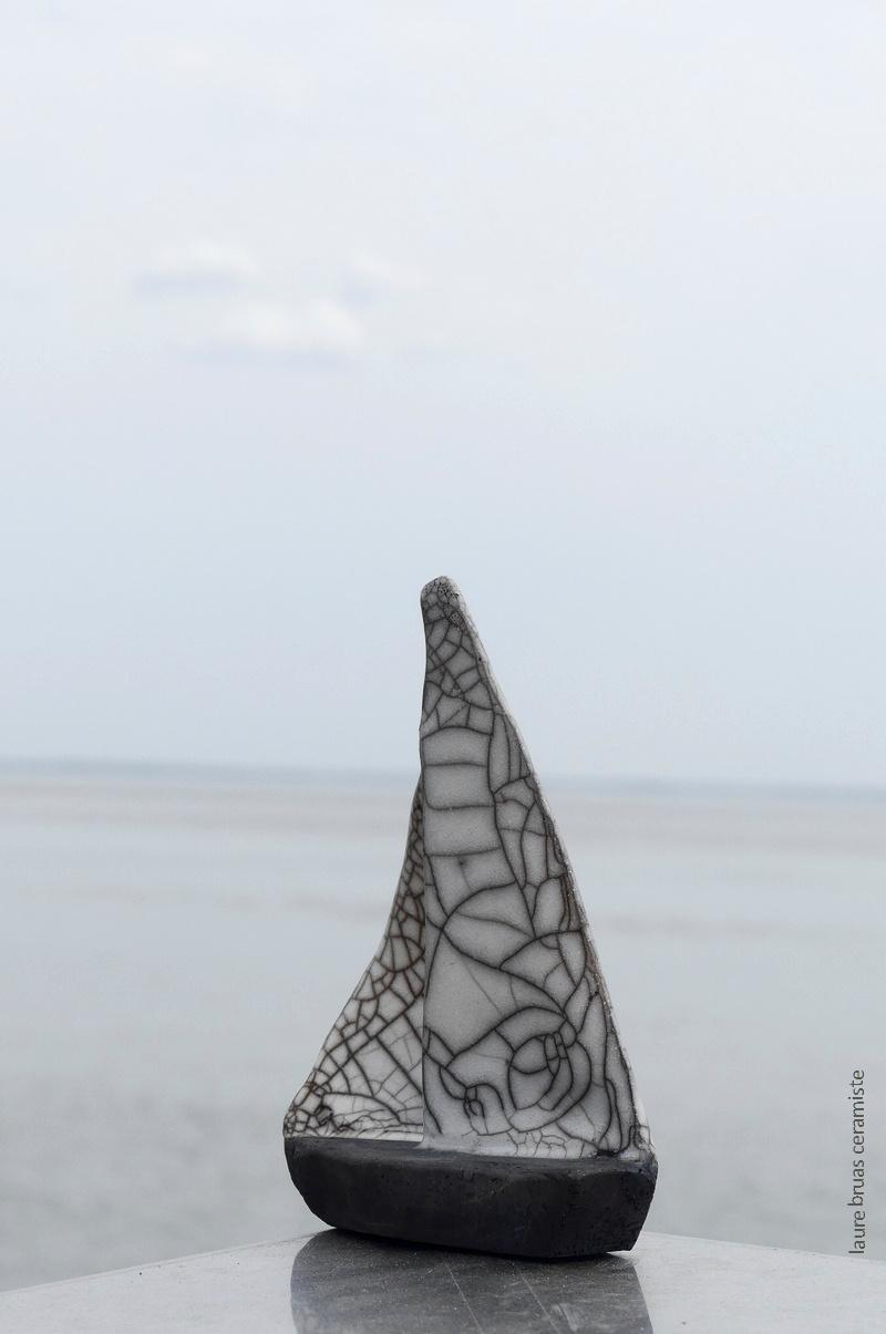 3 taillles de voiliers raku voile craquelée coque enfumée