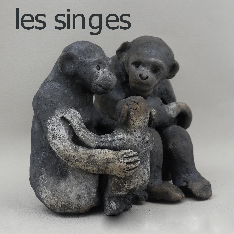 famille de singes en raku